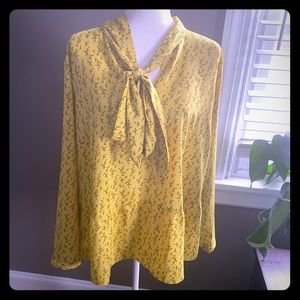LOFT Plus yellow floral blouse